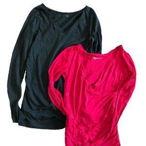 Gap Maternity Navy Pink Longsleeve 2-Piece Bundle Size XS